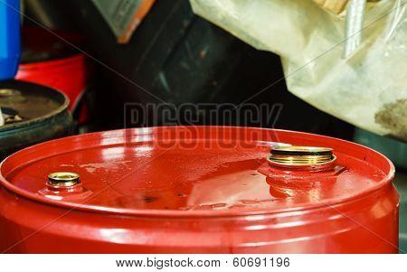 Red Oil Barrels In Mechanic Garage Car Service Or Shop