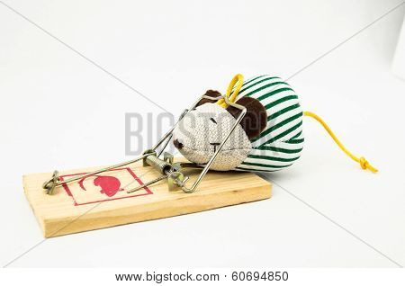 Wooden Mouse Trap on a White Background poster