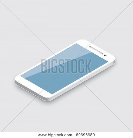 Mobile phone isolated on white. Realistic white 3d smartphone vector.