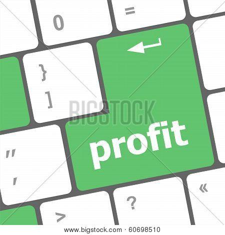 Profit Button On Computer Keyboard Key