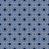 Navy Blue and White Circles Tiles Pattern Repeat Background that is seamless and repeats poster
