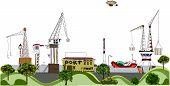 Big port illustration, cargo and transportation concept poster