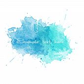 Blue Watercolor splatters. Vector illustration. This is file of EPS10 format. poster