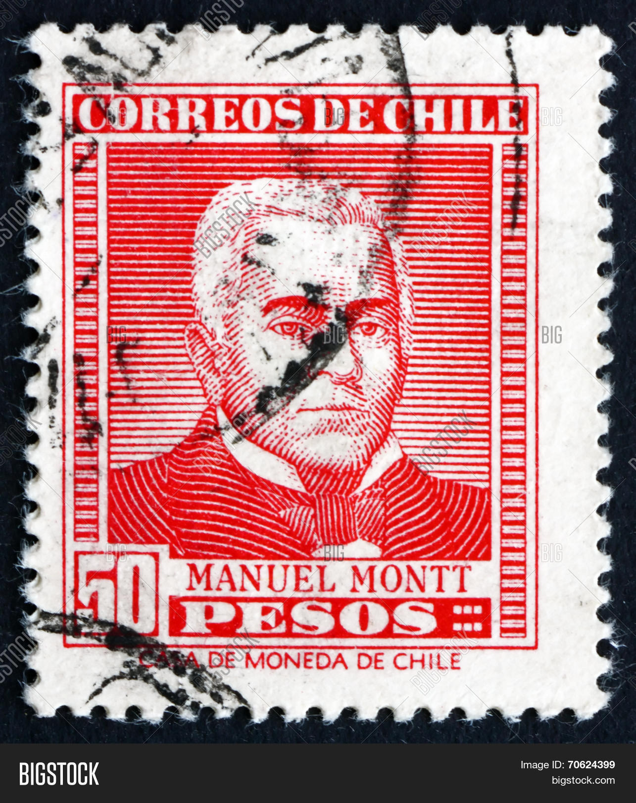 Postage Stamp Chile 1956 Manuel Montt Chilean Politician