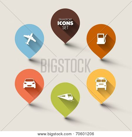 Set of round retro flat transport pointers - car, bus, train, plane, gas station with a long shadow effect poster