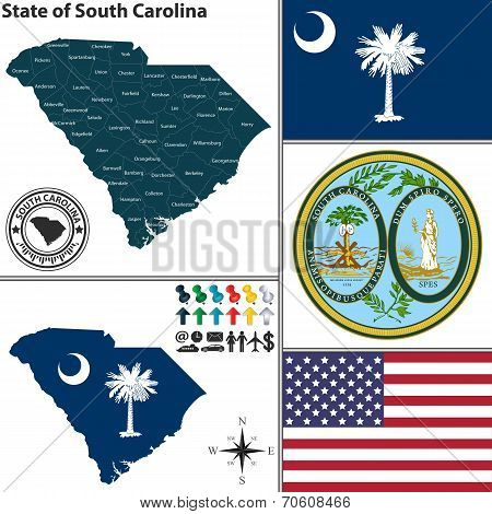 Map Of State South Carolina, Usa