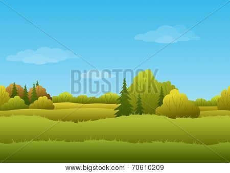 Seamless background, autumn landscape