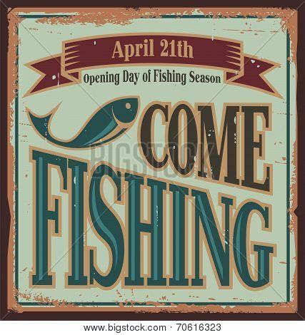 Vintage fishing metal sign