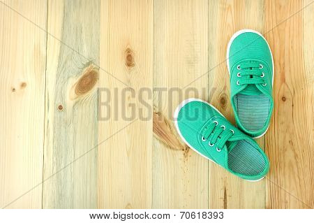Shoes On A Wooden Floor.