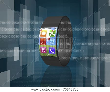 Ultra-thin Curved-screen Smart Watch On Tech-digital Background