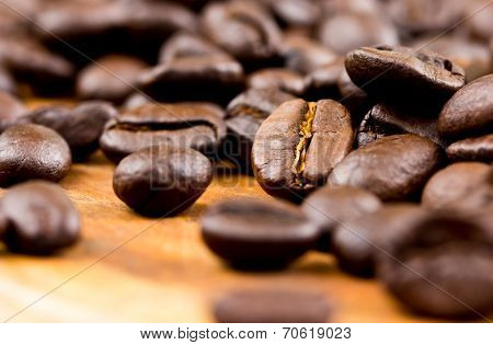 Coffee On Wooden Background Fresh Coffee Beans On Wood ,ready To Brew Delicious Coffee