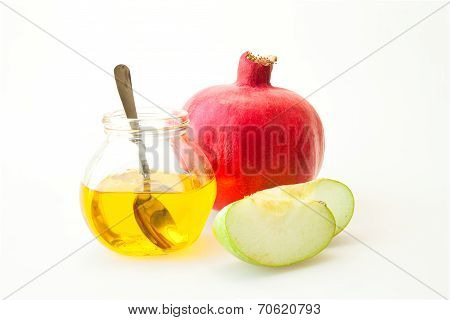 Pomegranate Honey and sliced apple