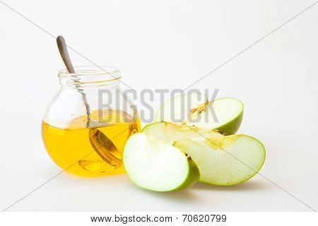 Honey and sliced appels for Rosh Hashana