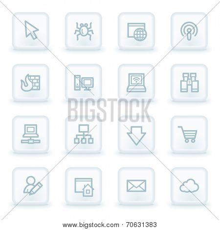Internet web icons,  white square buttons