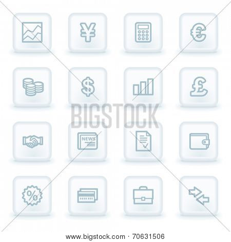 Finance web icons,  white square buttons