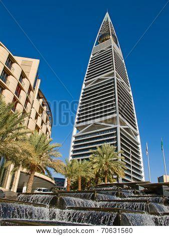 RIYADH - DECEMBER 22: Al Faisaliah tower facade on December 22, 2009 in Riyadh, Saudi Arabia. Al Faisaliah towers is a luxury hotel and the most distinctive skyscraper in Saudi Arabia