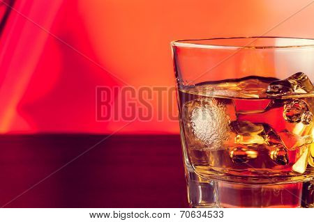 Whiskey Glass On Bar Table With Ice With Space For Text