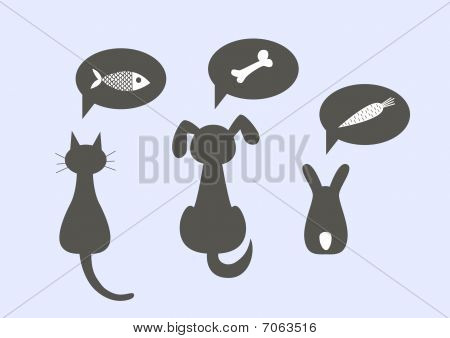 Silhouettes of a cat, dog and the rabbit, dreaming of tasty food