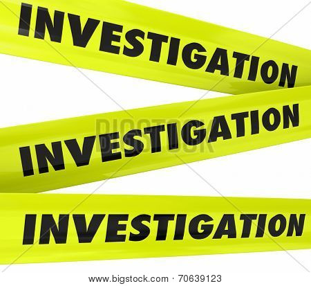 Investigation word on yellow police crime scene tape to secure an area where detective work is taking place