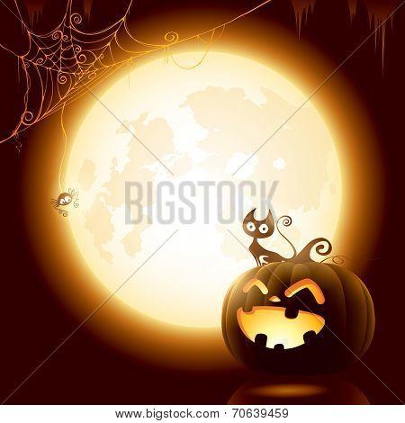 Halloween pumpkin under the moonlight