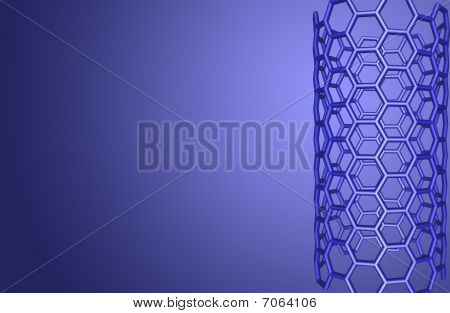 Blue Background With Nanotube Structure
