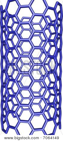 Blue Nanotube Structure On White Background
