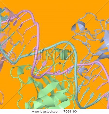 Chemical Structures On Orange Background