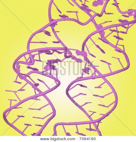 Dna Chains On Yellow Background
