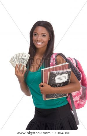 education financial aid Ethnic black African-American college student holds pile 100 (one hundred) dollar bills happy getting money help to subsidies costly university cost poster
