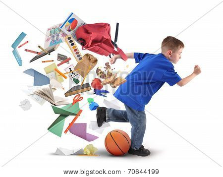 School Boy Running Late With Supplies On White