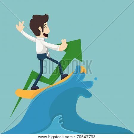 Businessman Surfing On Wave