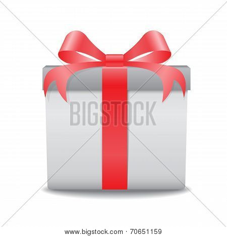 White Gift Box With A Red Bow Vector On White Background