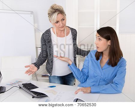 Business Woman Having Problems At Work: Bullying, Mobbing, Herassment At Workplace.