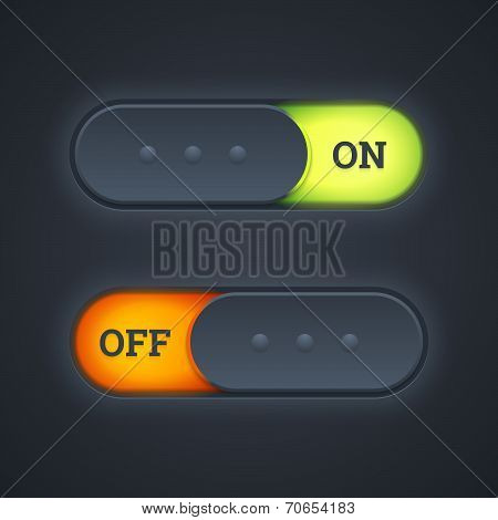 On And Off Switch Toggle Buttons.