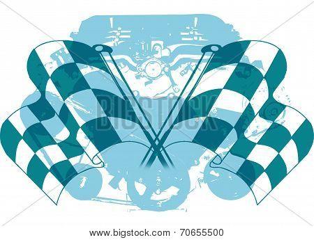 Checkered Flag and Engine Emblem