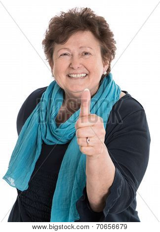 Isolated Happy Older Woman With Thumb Up