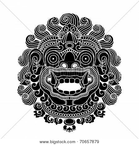 Mythological gods head, indonesian traditional art, black silhouette, vector illustration poster