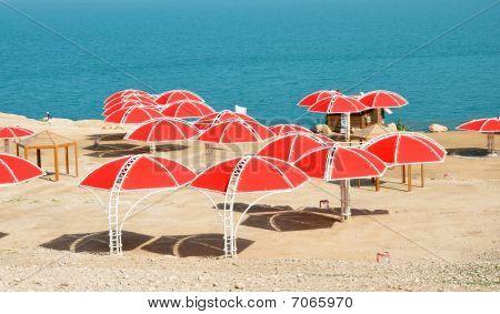 Dead Sea. Beach Umbrellas