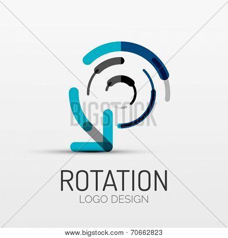 rotation icon, arrow company logo design, business symbol concept, minimal line style