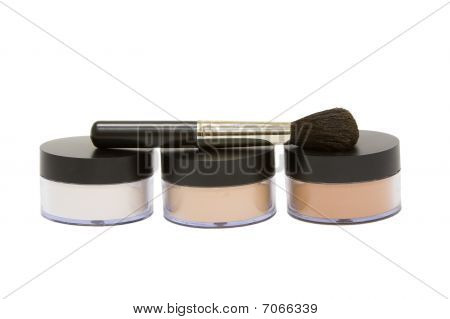 Make-up Powder Jars With Brush Isolated