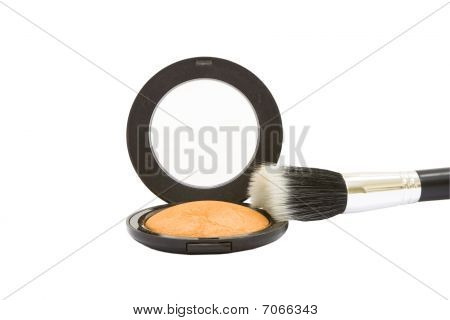Make-up Powder Compact With Brush Isolated