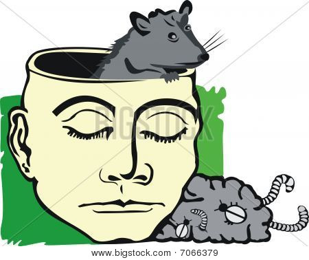art illustration of human with rat in empty head and carrion brain out of head poster