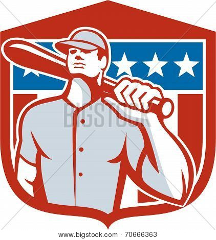 American Baseball Batter Bat Shield Retro