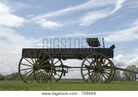 Antique Buckboard Sky Background