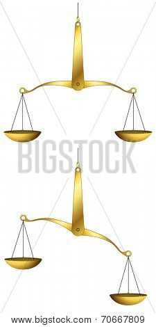 Illustration of golden weigh-scales isolated on white background.