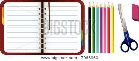 Organizer with pencils, scissors and eraser set