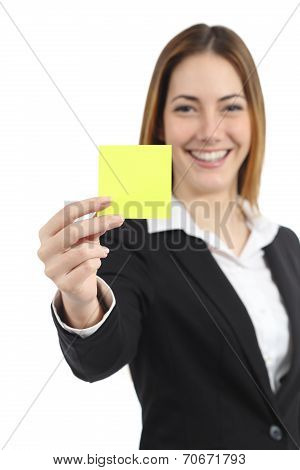 Beautiful Businesswoman Showing A Blank Yellow Paper Note