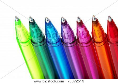 Various Colours of Ball Point Pens, Isolated on White Background