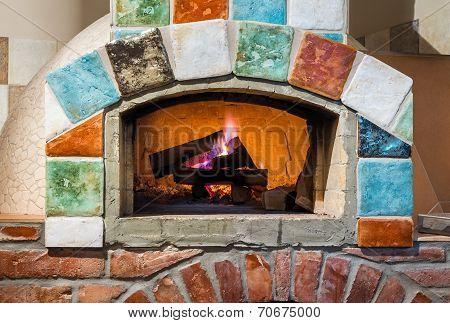 Fire In Professional  Italian Stylepizza Oven
