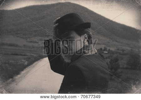 Mysterious Man On The Road. Black And White Retro Style Imagery